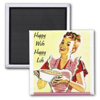 Vida feliz de la esposa feliz imán cuadrado