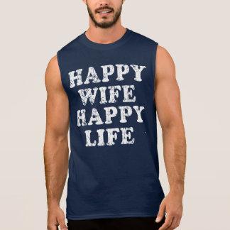 Vida feliz de la esposa feliz camiseta sin mangas