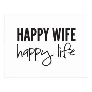Vida feliz de la esposa feliz tarjetas postales