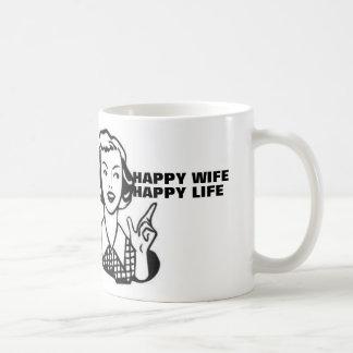 Vida feliz de la esposa feliz, taza de café retra