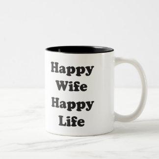 Vida feliz de la esposa feliz taza de dos tonos