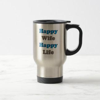 Vida feliz de la esposa feliz taza térmica