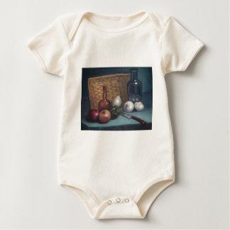 Vida francesa de la cesta y todavía del florero de body para bebé