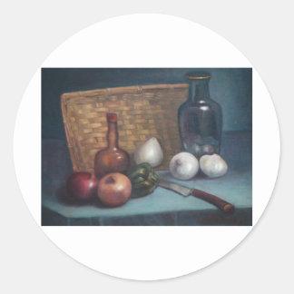 Vida francesa de la cesta y todavía del florero de pegatina redonda