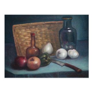 Vida francesa de la cesta y todavía del florero de postal