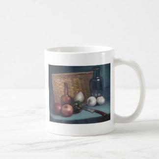 Vida francesa de la cesta y todavía del florero de taza de café