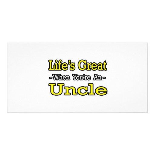 Vida grande cuando usted es un tío tarjeta fotográfica personalizada