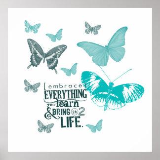 Vida inspirada de las mariposas póster