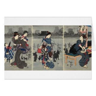 Vida japonesa diaria circa 1800's tarjeta de felicitación