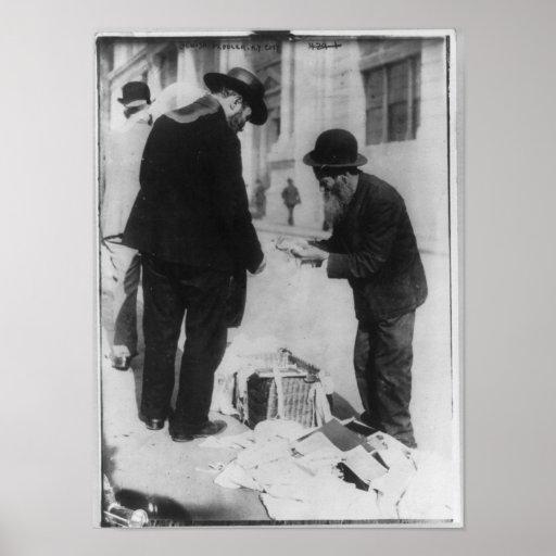 Vida judía - vendedor ambulante judío, New York Ci Póster