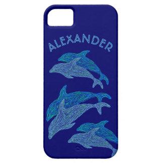 Vida marina acuática azul del arte de los delfínes iPhone 5 Case-Mate cobertura