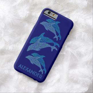 Vida marina acuática azul del arte de los delfínes funda barely there iPhone 6