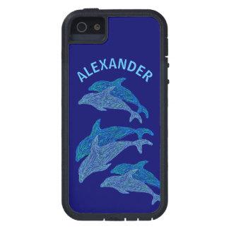 Vida marina acuática azul del arte de los delfínes funda para iPhone SE/5/5s