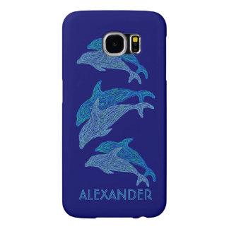 Vida marina acuática azul del arte de los delfínes funda samsung galaxy s6