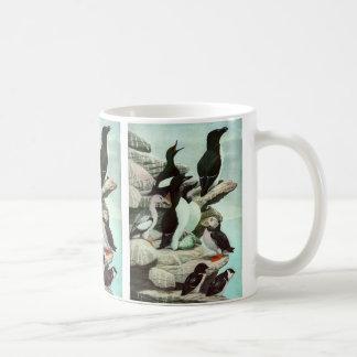 Vida marina del vintage, pájaros acuáticos tazas de café