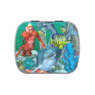 Vida marina divertida con el delfín jarrones de caramelos