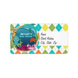 Vida marina en Argyle colorido; Fiesta de Etiqueta De Dirección