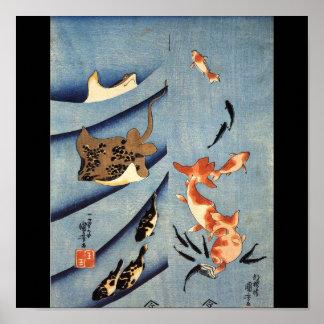 Vida marina japonesa, arte japonés antiguo. c. 180 póster