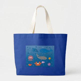Vida marina linda del dibujo animado bolsa tela grande