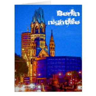 Vida nocturna de Berlín - iglesia del monumento de Tarjeta De Felicitación Grande