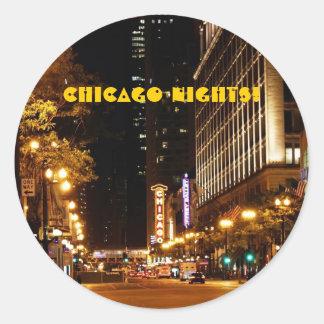 vida nocturna de Chicago Pegatina Redonda