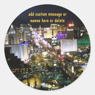 Vida nocturna de la tira de Las Vegas Pegatinas Redondas