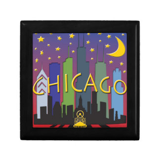 Vida nocturna del horizonte de Chicago Caja De Recuerdo