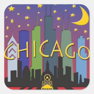 Vida nocturna del horizonte de Chicago Pegatina Cuadrada
