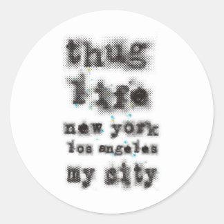 Vida Nueva York Los Ángeles del gamberro mi ciudad Pegatina Redonda
