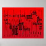 """""""Vida pero una sombra que camina"""" Macbeth Shakespe Posters"""