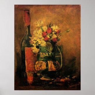 Vida romántica de Van Gogh aún con los rosas y el Poster