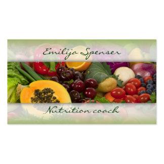 Vida sana de las frutas y de las verduras/tarjeta  tarjetas de visita