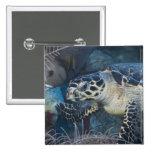 Vida subacuática: Una tortuga de mar de Hawksbill Pin Cuadrado