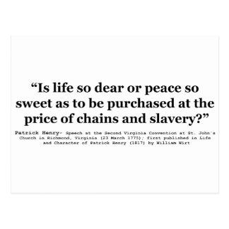 Vida tan estimada o cita tan dulce de Patrick Tarjeta Postal