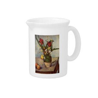 Vida, tulipanes y manzanas de Paul todavía Cezanne Jarras Para Bebida
