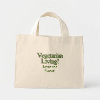 ¡Vida vegetariana! ¡, Ahorra el planeta! Bolsa Tela Pequeña