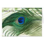 Vida verde del travesaño del pavo real de Apple Felicitacion
