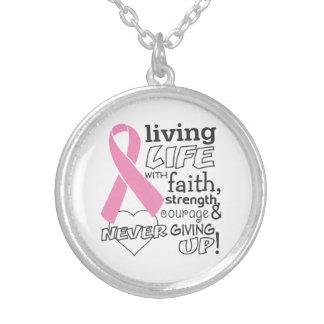 Vida viva con conciencia del cáncer de pecho de la colgante redondo