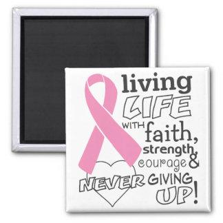 Vida viva con conciencia del cáncer de pecho de la imán de frigorifico