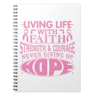 Vida viva del cáncer de pecho con la fe libretas