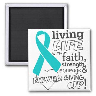 Vida viva del cáncer ovárico con la fe imán de frigorifico