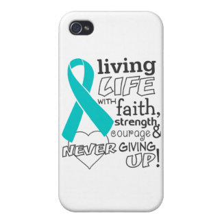 Vida viva del cáncer ovárico con la fe iPhone 4/4S fundas