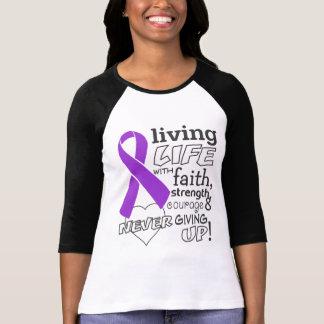 Vida viva del cáncer pancreático con la fe camisetas