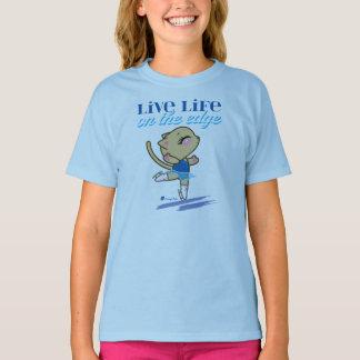 Vida viva en camiseta el borde del gato del polera