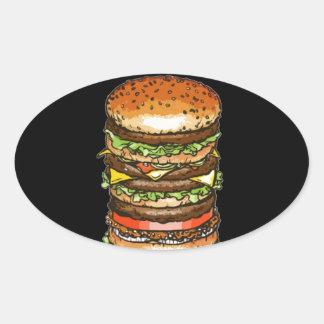 vida y alegría de la hamburguesa pegatina ovalada