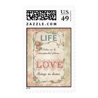 Vida y amor en una etiqueta antigua del francés estampillas