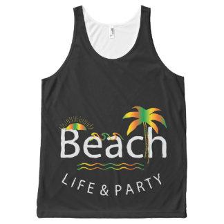 Vida y fiesta - estilo de la playa del arco iris playera de tirantes con estampado integral
