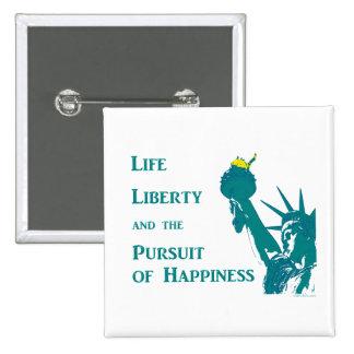 Vida y libertad pin cuadrado
