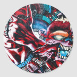 Vida y muerte. Pintada en la pared texturizada Pegatinas Redondas