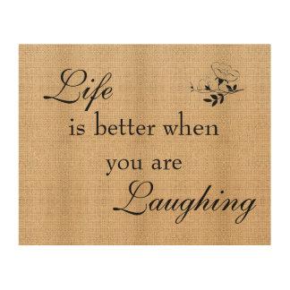 Vida y risa de la muestra del tablero de la cuadros de madera